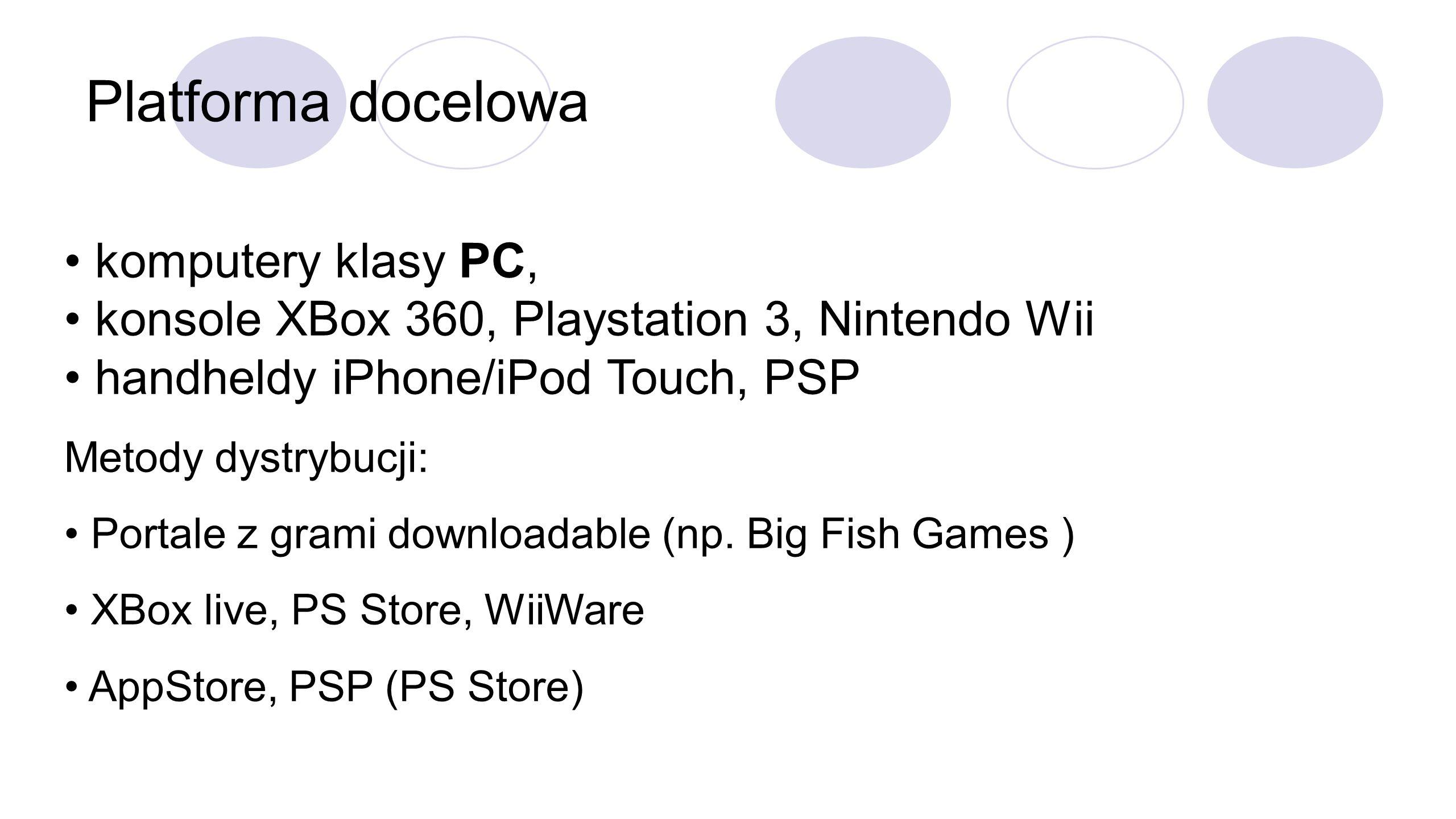 Platforma docelowa komputery klasy PC, konsole XBox 360, Playstation 3, Nintendo Wii handheldy iPhone/iPod Touch, PSP Metody dystrybucji: Portale z grami downloadable (np.