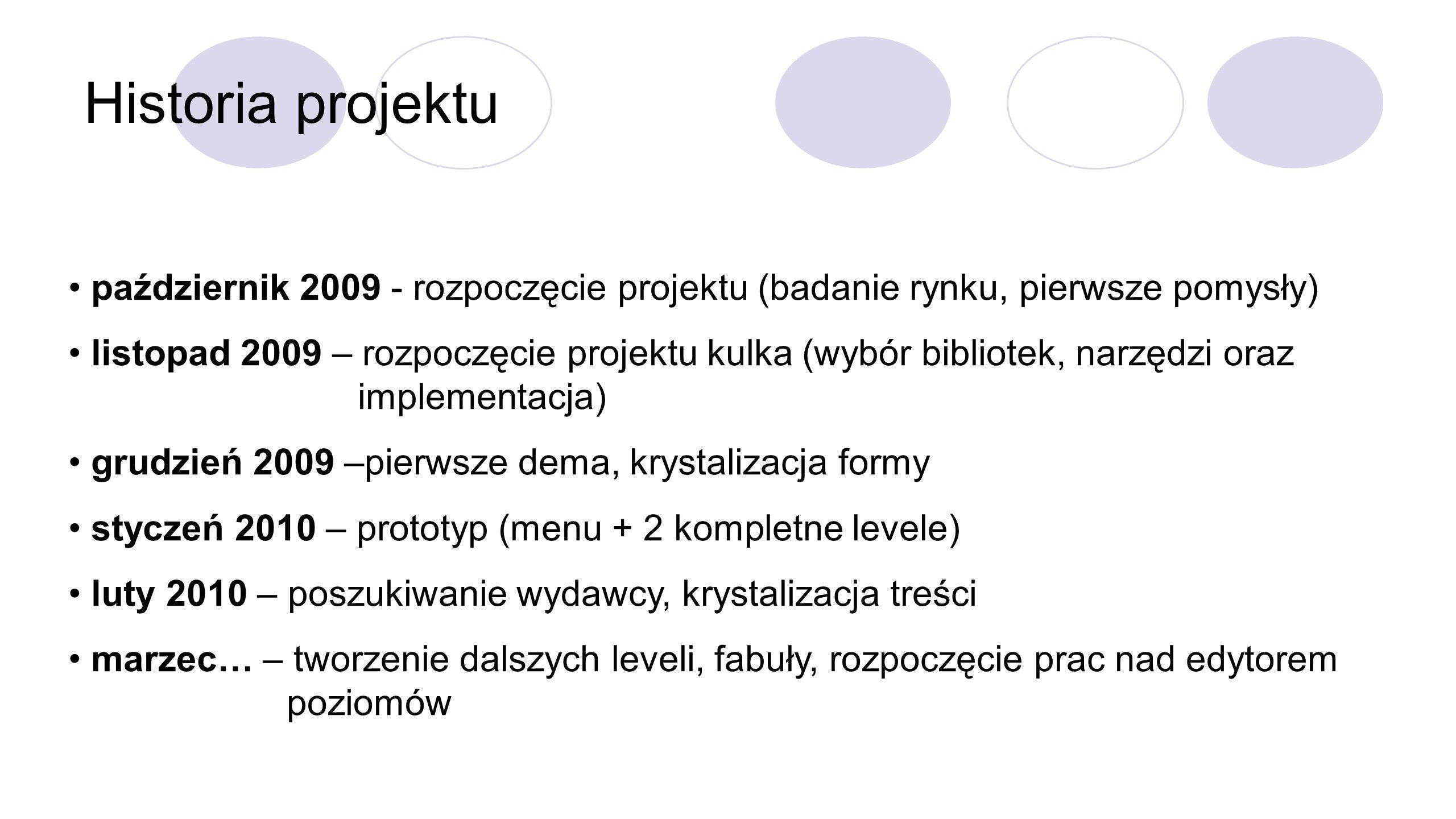 Historia projektu październik 2009 - rozpoczęcie projektu (badanie rynku, pierwsze pomysły) listopad 2009 – rozpoczęcie projektu kulka (wybór bibliotek, narzędzi oraz implementacja) grudzień 2009 –pierwsze dema, krystalizacja formy styczeń 2010 – prototyp (menu + 2 kompletne levele) luty 2010 – poszukiwanie wydawcy, krystalizacja treści marzec… – tworzenie dalszych leveli, fabuły, rozpoczęcie prac nad edytorem poziomów