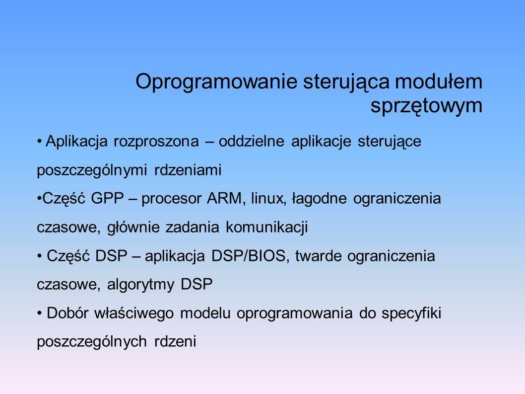 Oprogramowanie sterująca modułem sprzętowym Aplikacja rozproszona – oddzielne aplikacje sterujące poszczególnymi rdzeniami Część GPP – procesor ARM, l