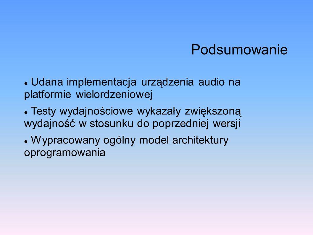 Podsumowanie Udana implementacja urządzenia audio na platformie wielordzeniowej Testy wydajnościowe wykazały zwiększoną wydajność w stosunku do poprze