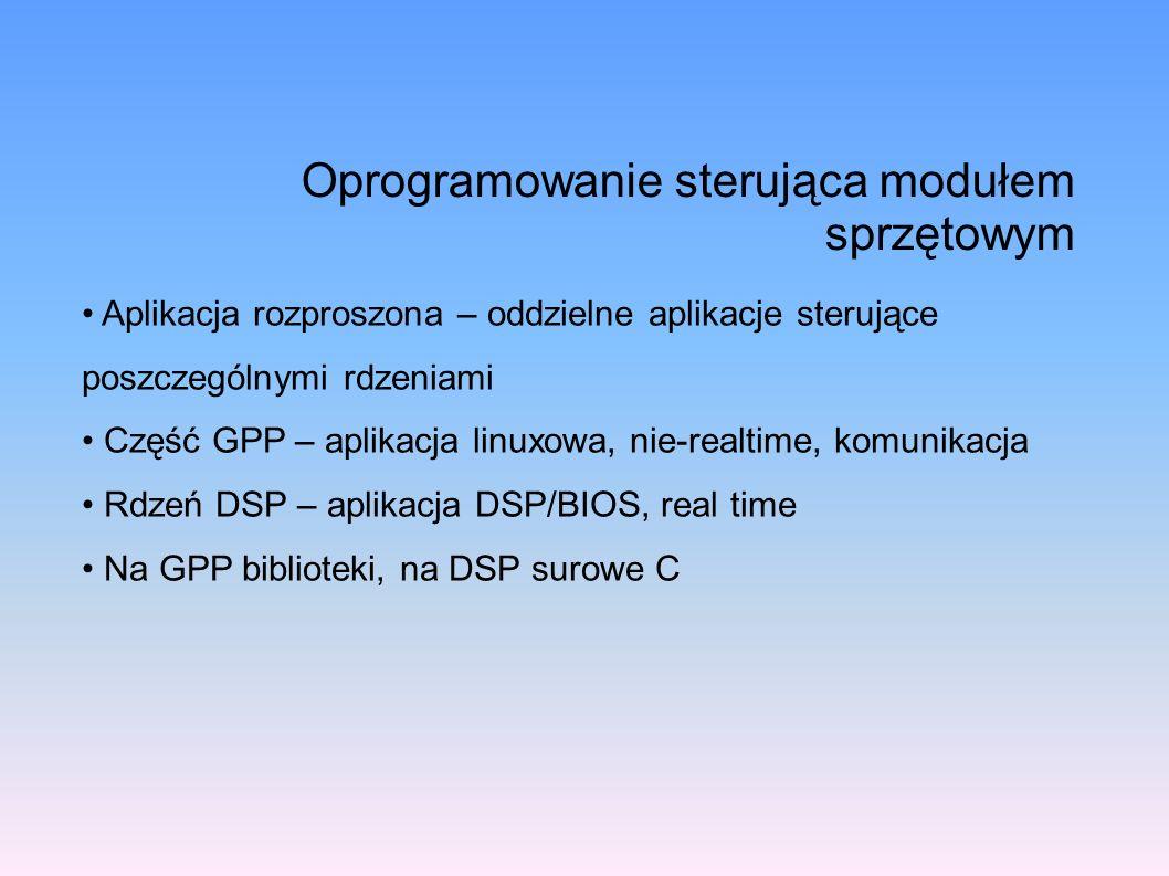 Oprogramowanie sterująca modułem sprzętowym Aplikacja rozproszona – oddzielne aplikacje sterujące poszczególnymi rdzeniami Część GPP – aplikacja linux