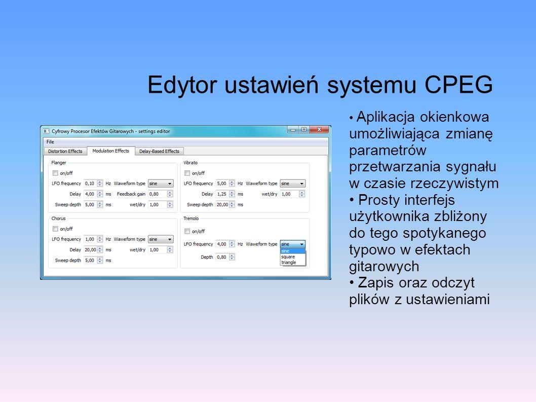 Edytor ustawień systemu CPEG Aplikacja okienkowa umożliwiająca zmianę parametrów przetwarzania sygnału w czasie rzeczywistym Prosty interfejs użytkown