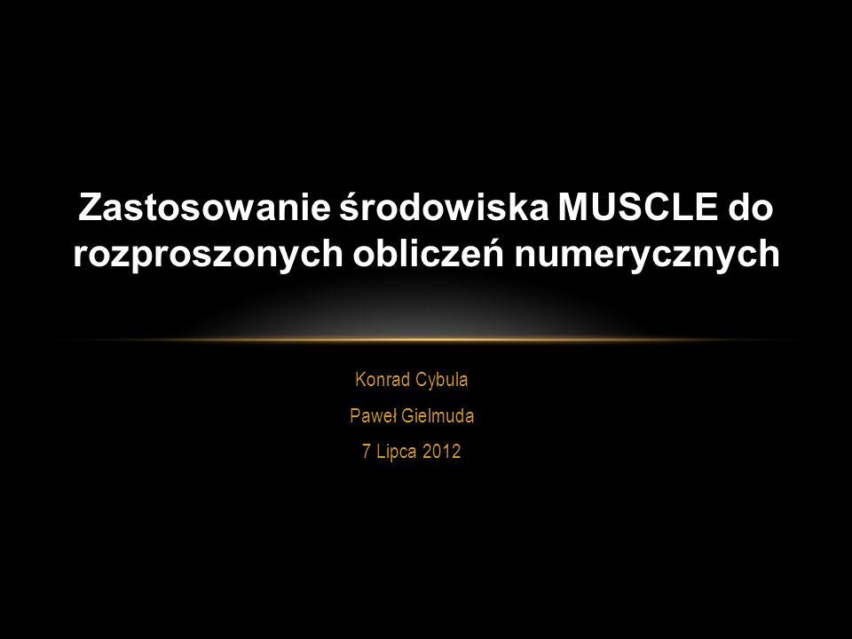 Konrad Cybula Paweł Gielmuda 7 Lipca 2012 Zastosowanie środowiska MUSCLE do rozproszonych obliczeń numerycznych Konrad Cybula Paweł Gielmuda 7 Lipca 2012