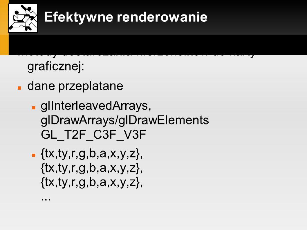 Efektywne renderowanie Metody dostarczania wierzchołków do karty graficznej: dane przeplatane glInterleavedArrays, glDrawArrays/glDrawElements GL_T2F_