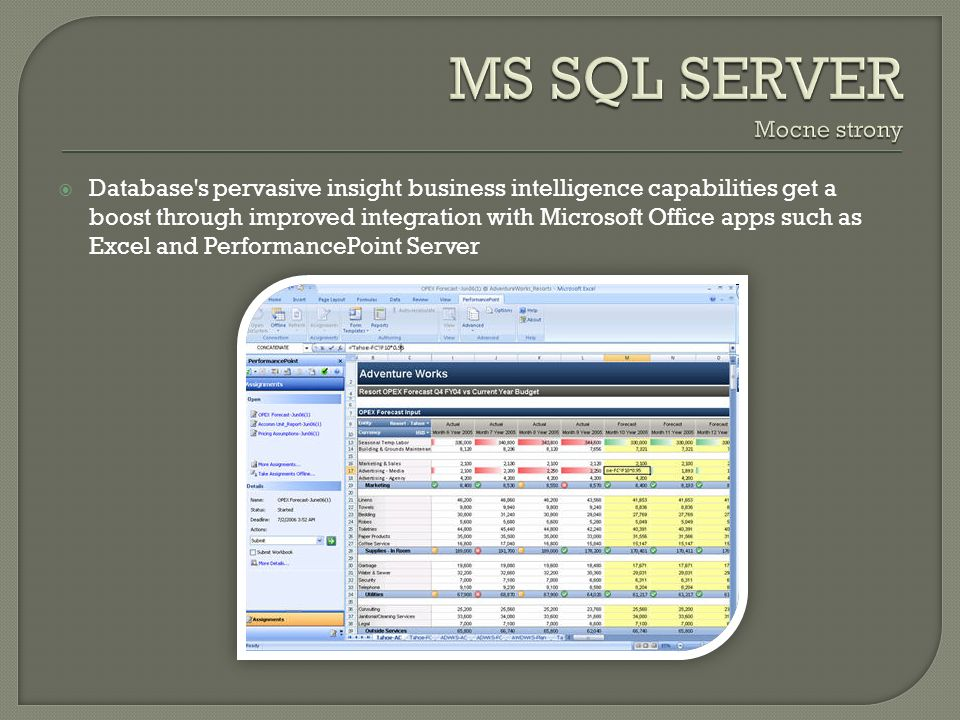 Database s pervasive insight business intelligence capabilities get a boost through improved integration with Microsoft Office apps such as Excel and PerformancePoint Server