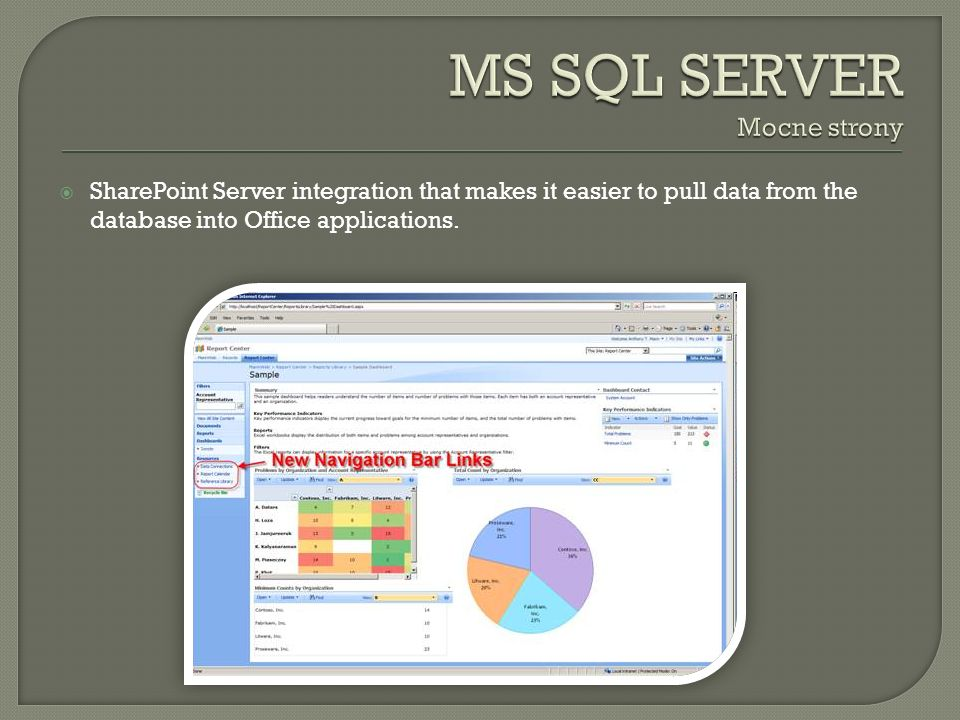 SharePoint Server integration that makes it easier to pull data from the database into Office applications.