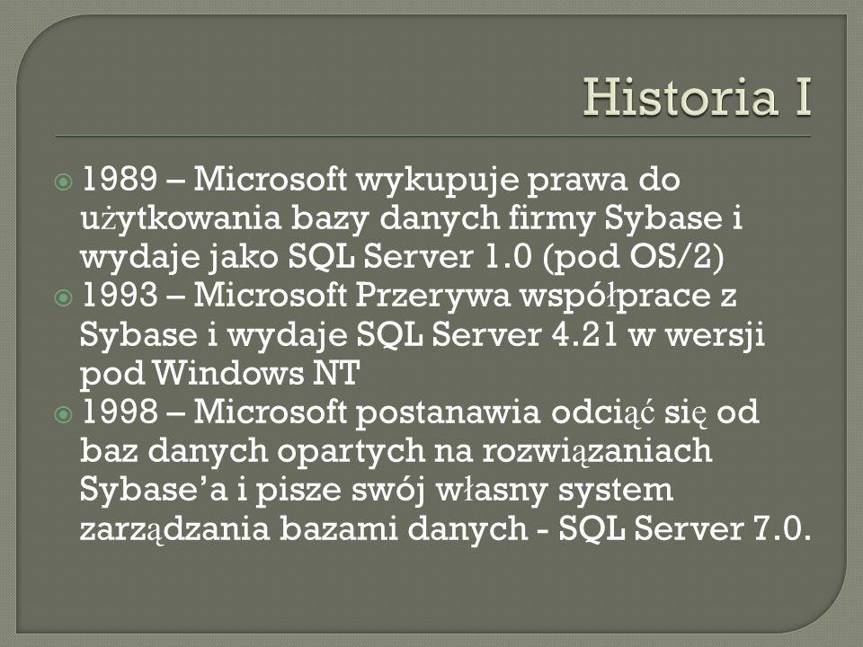 1989 – Microsoft wykupuje prawa do u ż ytkowania bazy danych firmy Sybase i wydaje jako SQL Server 1.0 (pod OS/2) 1993 – Microsoft Przerywa wspó ł prace z Sybase i wydaje SQL Server 4.21 w wersji pod Windows NT 1998 – Microsoft postanawia odci ąć si ę od baz danych opartych na rozwi ą zaniach Sybasea i pisze swój w ł asny system zarz ą dzania bazami danych - SQL Server 7.0.