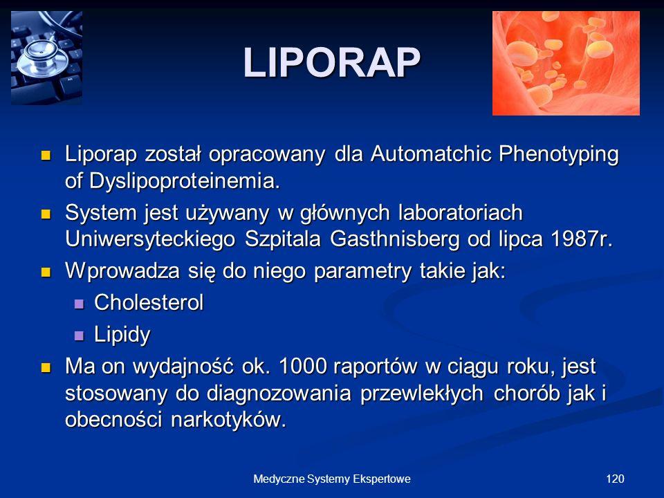 120Medyczne Systemy Ekspertowe LIPORAP Liporap został opracowany dla Automatchic Phenotyping of Dyslipoproteinemia. Liporap został opracowany dla Auto