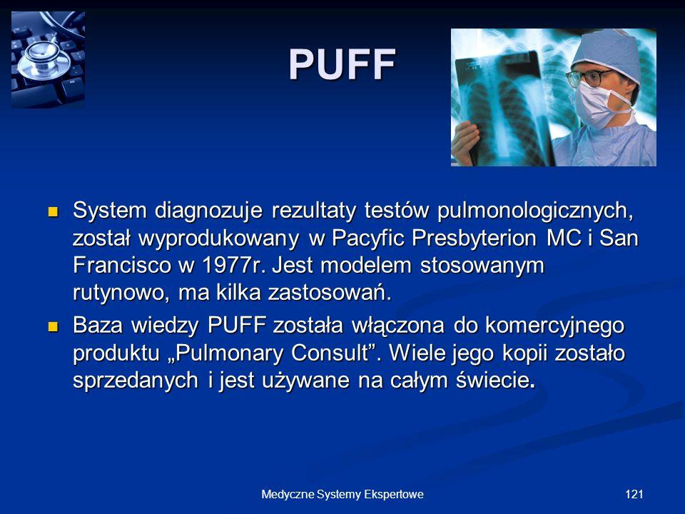 121Medyczne Systemy Ekspertowe PUFF System diagnozuje rezultaty testów pulmonologicznych, został wyprodukowany w Pacyfic Presbyterion MC i San Francis