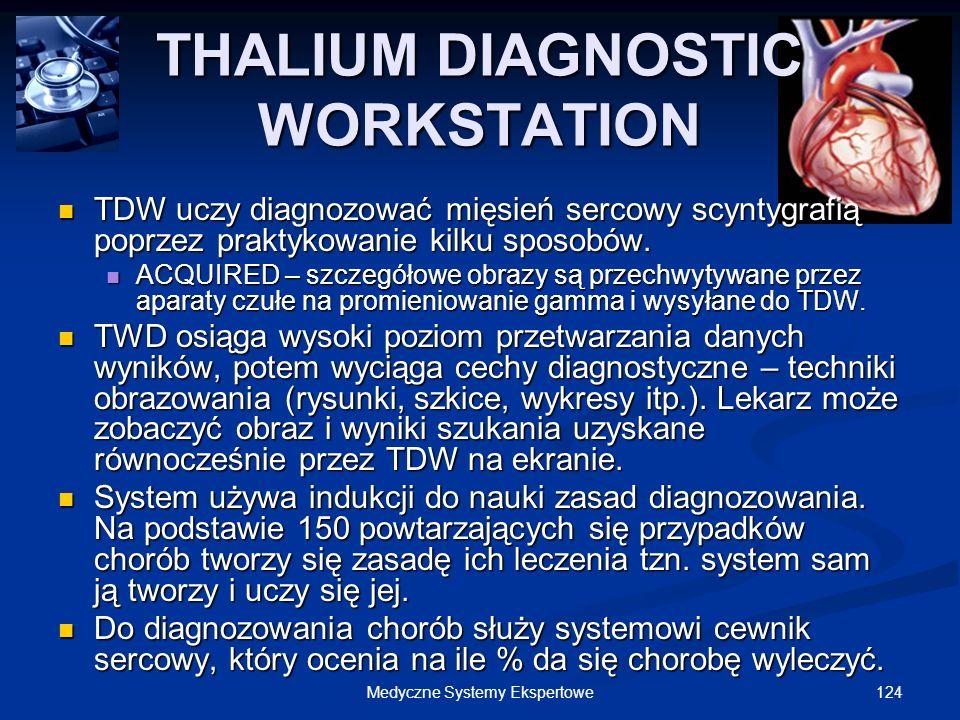 124Medyczne Systemy Ekspertowe THALIUM DIAGNOSTIC WORKSTATION TDW uczy diagnozować mięsień sercowy scyntygrafią poprzez praktykowanie kilku sposobów.