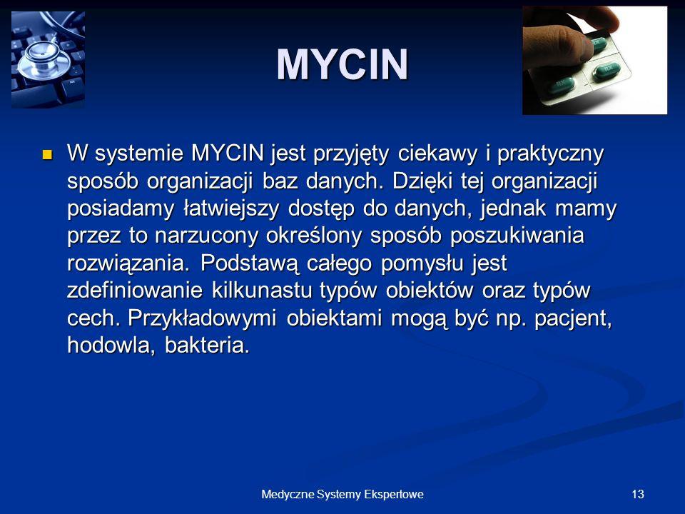 13Medyczne Systemy Ekspertowe MYCIN W systemie MYCIN jest przyjęty ciekawy i praktyczny sposób organizacji baz danych. Dzięki tej organizacji posiadam