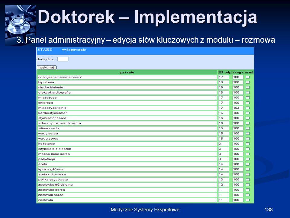 138Medyczne Systemy Ekspertowe Doktorek – Implementacja Doktorek – Implementacja 3. Panel administracyjny – edycja słów kluczowych z modułu – rozmowa