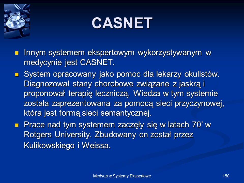 150Medyczne Systemy Ekspertowe Innym systemem ekspertowym wykorzystywanym w medycynie jest CASNET. Innym systemem ekspertowym wykorzystywanym w medycy