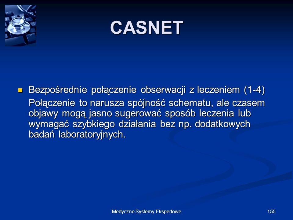 155Medyczne Systemy Ekspertowe Bezpośrednie połączenie obserwacji z leczeniem (1-4) Bezpośrednie połączenie obserwacji z leczeniem (1-4) Połączenie to