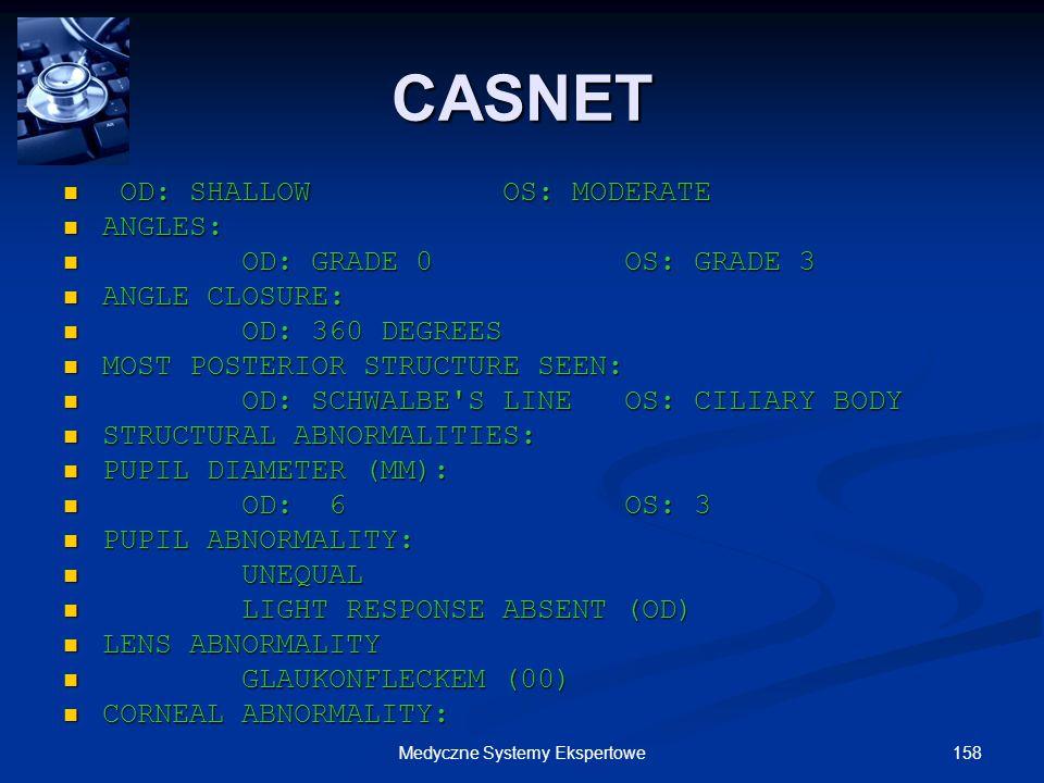 158Medyczne Systemy Ekspertowe OD: SHALLOW OS: MODERATE OD: SHALLOW OS: MODERATE ANGLES: ANGLES: OD: GRADE 0 OS: GRADE 3 OD: GRADE 0 OS: GRADE 3 ANGLE