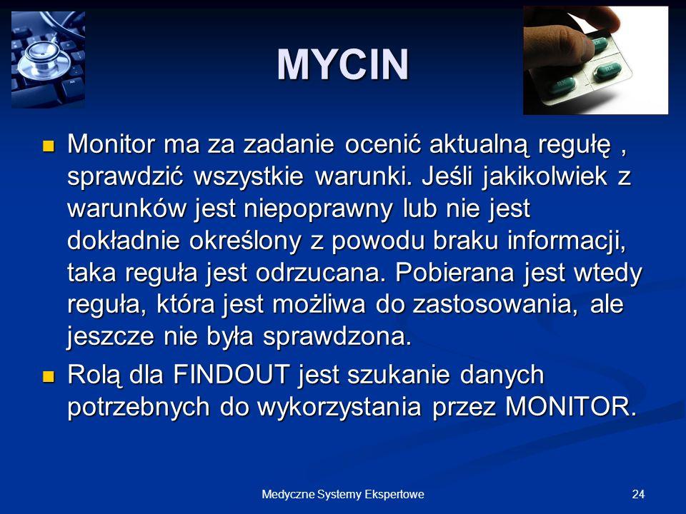 24Medyczne Systemy Ekspertowe Monitor ma za zadanie ocenić aktualną regułę, sprawdzić wszystkie warunki. Jeśli jakikolwiek z warunków jest niepoprawny