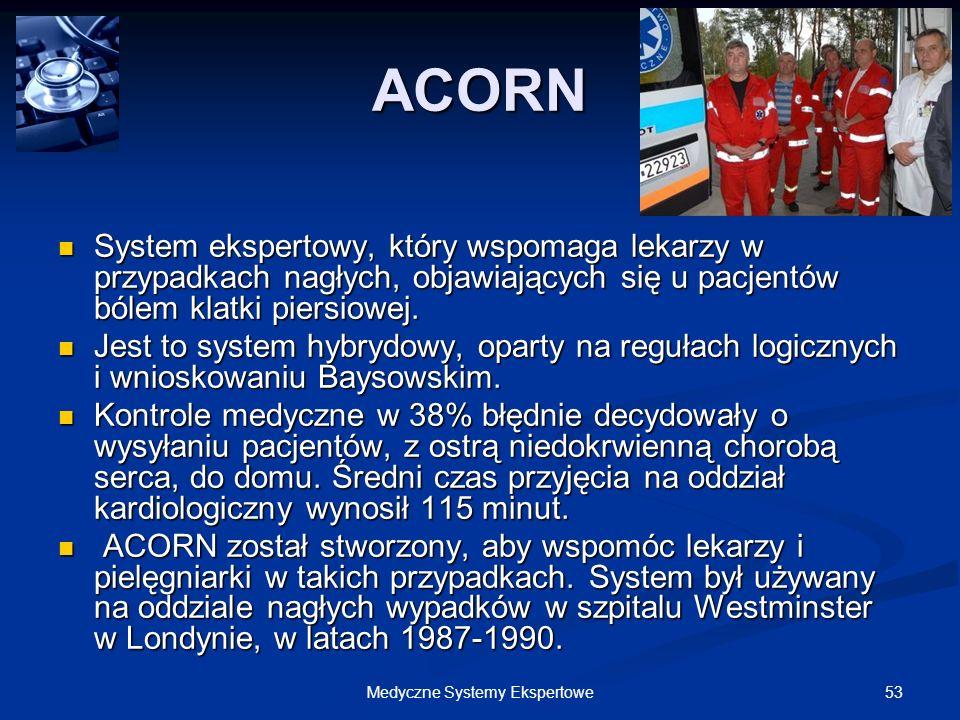 53Medyczne Systemy Ekspertowe ACORN System ekspertowy, który wspomaga lekarzy w przypadkach nagłych, objawiających się u pacjentów bólem klatki piersi