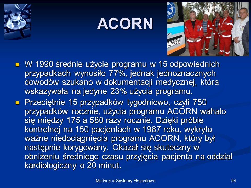 54Medyczne Systemy Ekspertowe ACORN W 1990 średnie użycie programu w 15 odpowiednich przypadkach wynosiło 77%, jednak jednoznacznych dowodów szukano w