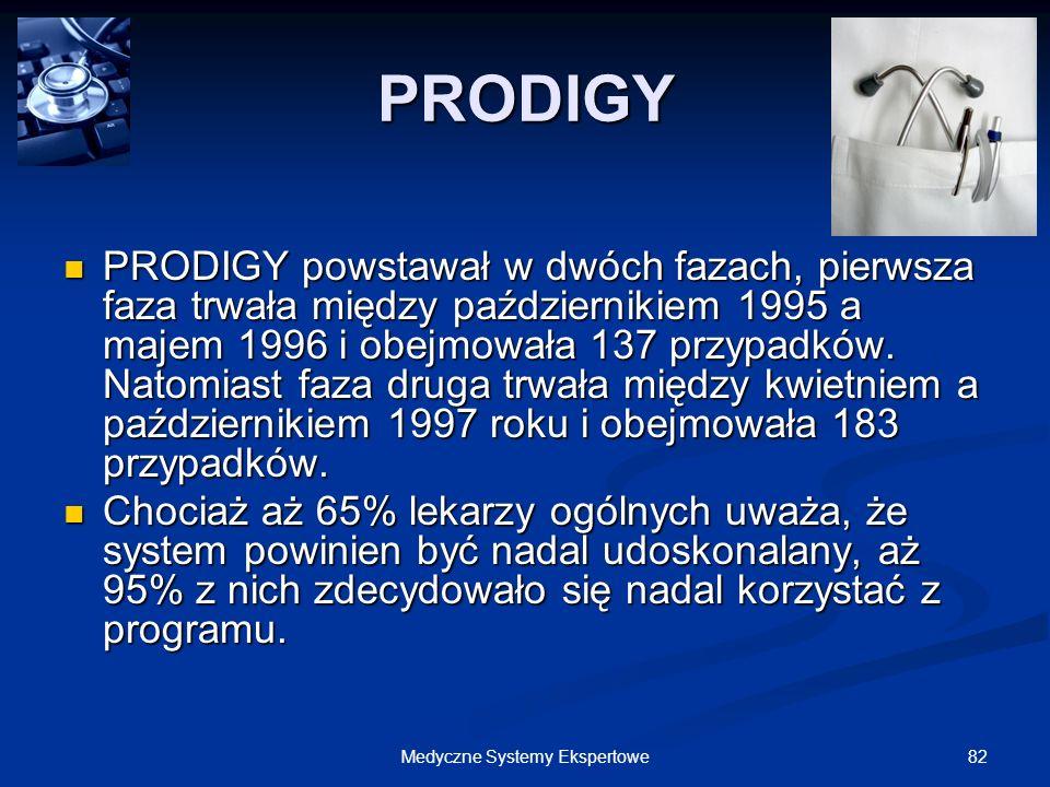 82Medyczne Systemy Ekspertowe PRODIGY PRODIGY powstawał w dwóch fazach, pierwsza faza trwała między październikiem 1995 a majem 1996 i obejmowała 137