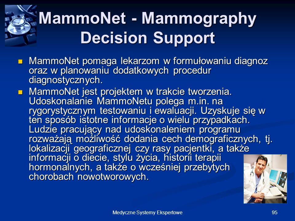 95Medyczne Systemy Ekspertowe MammoNet - Mammography Decision Support MammoNet pomaga lekarzom w formułowaniu diagnoz oraz w planowaniu dodatkowych pr