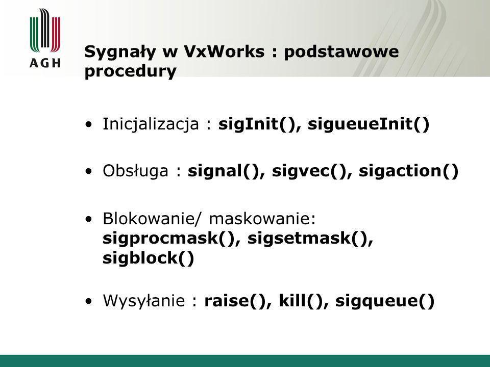 Sygnały w VxWorks : podstawowe procedury Inicjalizacja : sigInit(), sigueueInit() Obsługa : signal(), sigvec(), sigaction() Blokowanie/ maskowanie: sigprocmask(), sigsetmask(), sigblock() Wysyłanie : raise(), kill(), sigqueue()