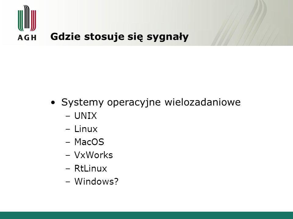 Gdzie stosuje się sygnały Systemy operacyjne wielozadaniowe –UNIX –Linux –MacOS –VxWorks –RtLinux –Windows