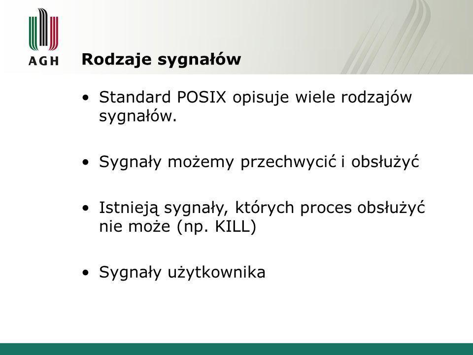 Rodzaje sygnałów Standard POSIX opisuje wiele rodzajów sygnałów.