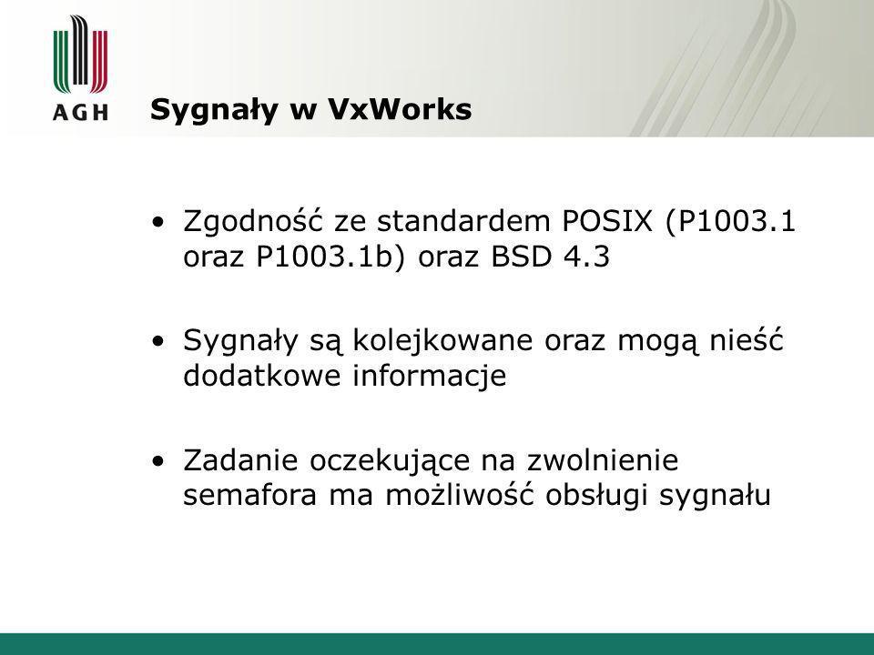 Sygnały w VxWorks Zgodność ze standardem POSIX (P1003.1 oraz P1003.1b) oraz BSD 4.3 Sygnały są kolejkowane oraz mogą nieść dodatkowe informacje Zadanie oczekujące na zwolnienie semafora ma możliwość obsługi sygnału
