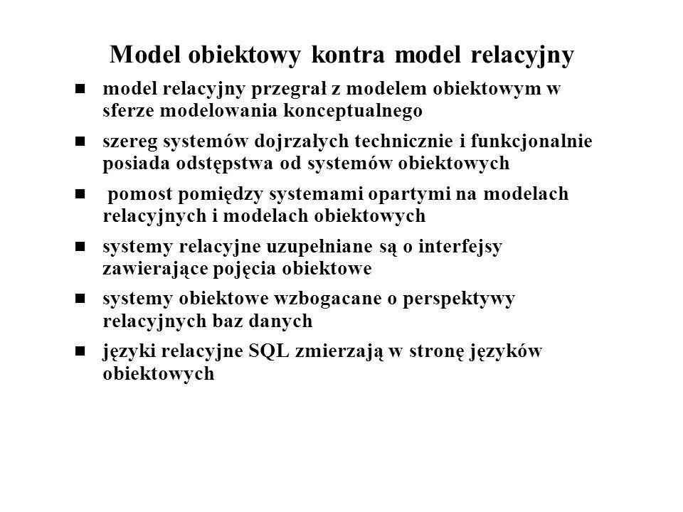 Model obiektowy kontra model relacyjny model relacyjny przegrał z modelem obiektowym w sferze modelowania konceptualnego szereg systemów dojrzałych te