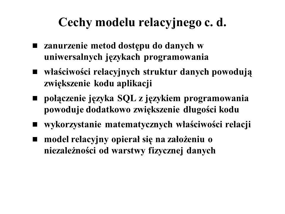 Cechy modelu relacyjnego c. d. zanurzenie metod dostępu do danych w uniwersalnych językach programowania właściwości relacyjnych struktur danych powod