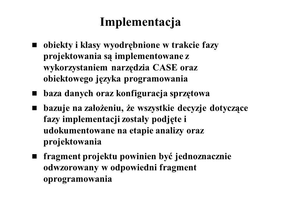 Implementacja obiekty i klasy wyodrębnione w trakcie fazy projektowania są implementowane z wykorzystaniem narzędzia CASE oraz obiektowego języka prog