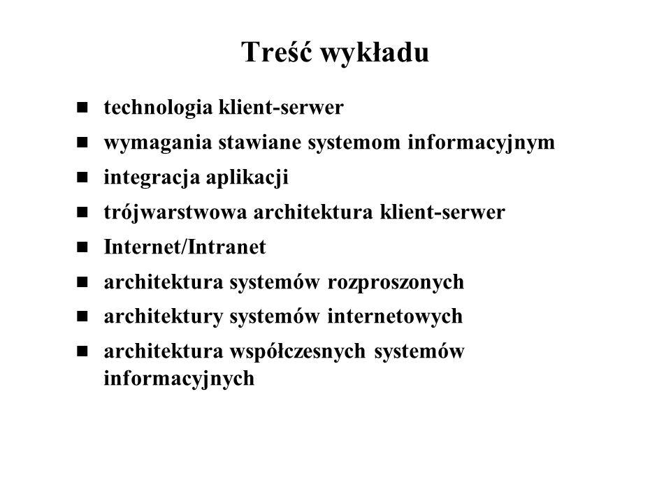 Treść wykładu technologia klient-serwer wymagania stawiane systemom informacyjnym integracja aplikacji trójwarstwowa architektura klient-serwer Intern