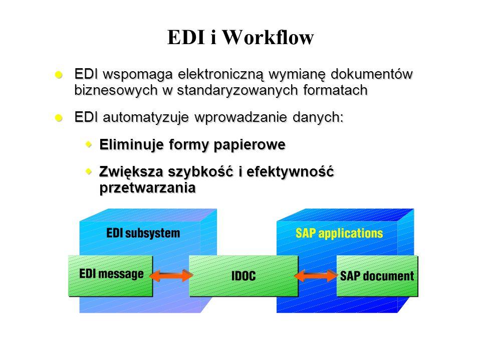 EDI i Workflow EDI wspomaga elektroniczną wymianę dokumentów biznesowych w standaryzowanych formatach EDI wspomaga elektroniczną wymianę dokumentów bi