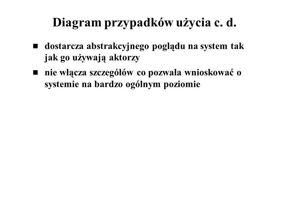 Diagram przypadków użycia c. d. dostarcza abstrakcyjnego poglądu na system tak jak go używają aktorzy nie włącza szczegółów co pozwala wnioskować o sy