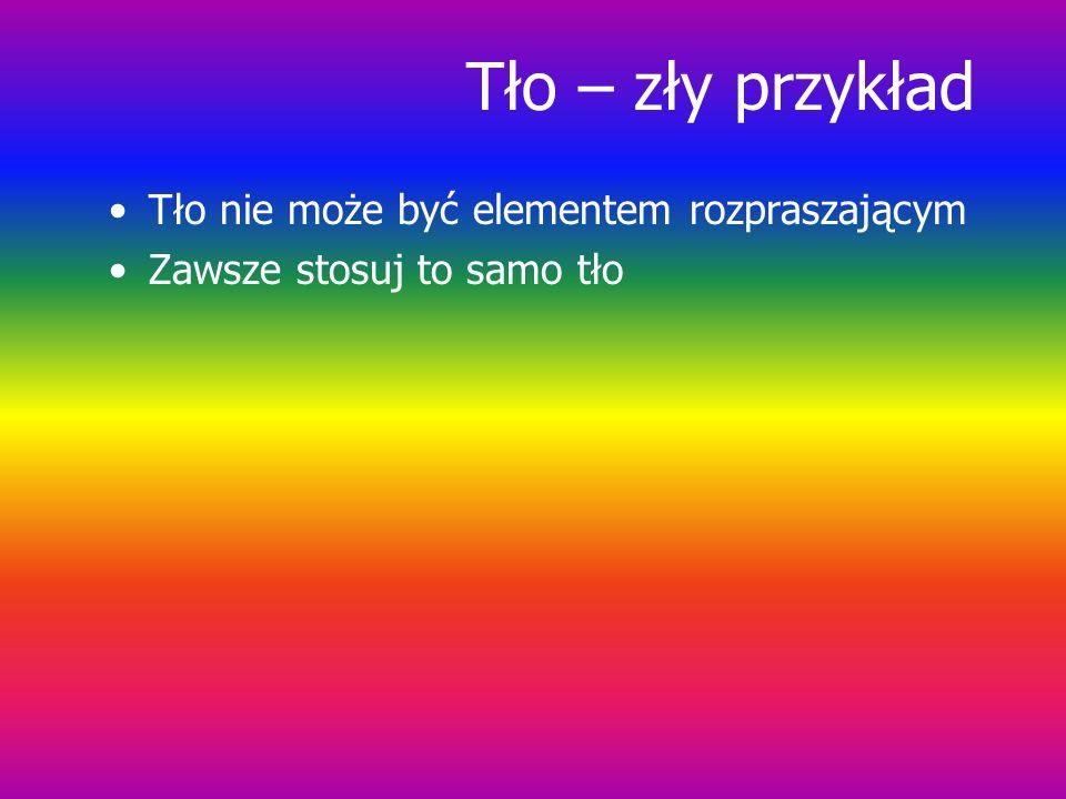 Institute of Informatics, Silesian University of Technology, Gliwice, Poland Kolor i tło: zły przykład Używaj tylko kolorów dobrze kontrastujących z t