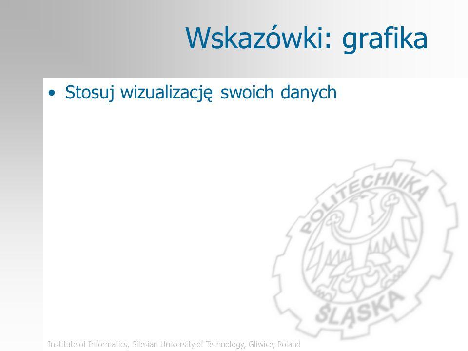 Institute of Informatics, Silesian University of Technology, Gliwice, Poland Grafika – inny zły przykład Jeden obraz wart jest tysiąca słów TREŚĆ ZROZ