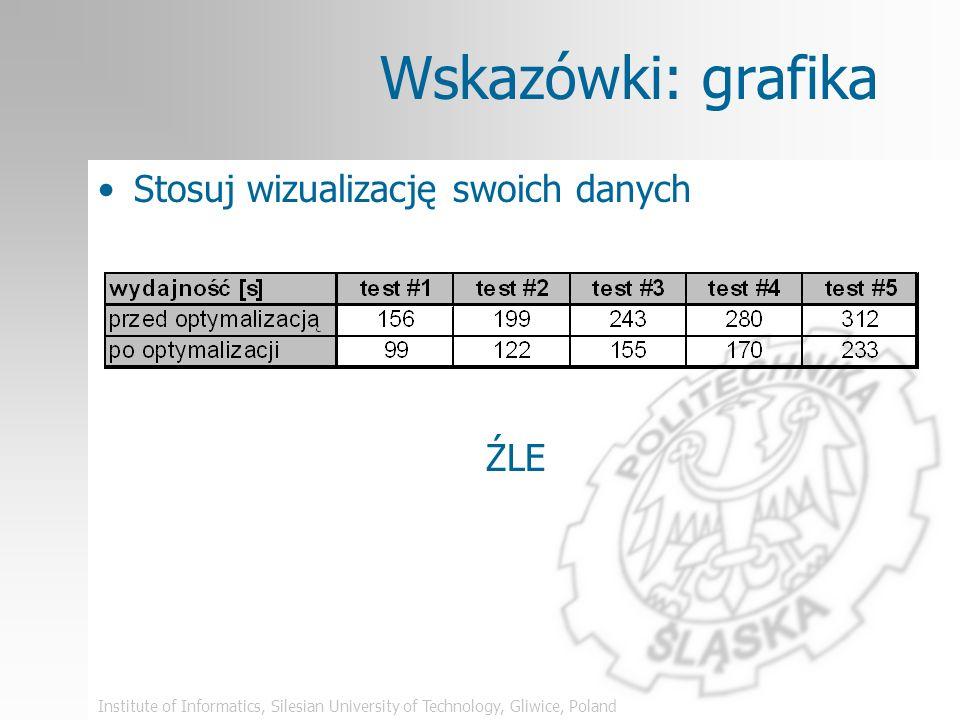 Institute of Informatics, Silesian University of Technology, Gliwice, Poland Wskazówki: grafika Stosuj wizualizację swoich danych