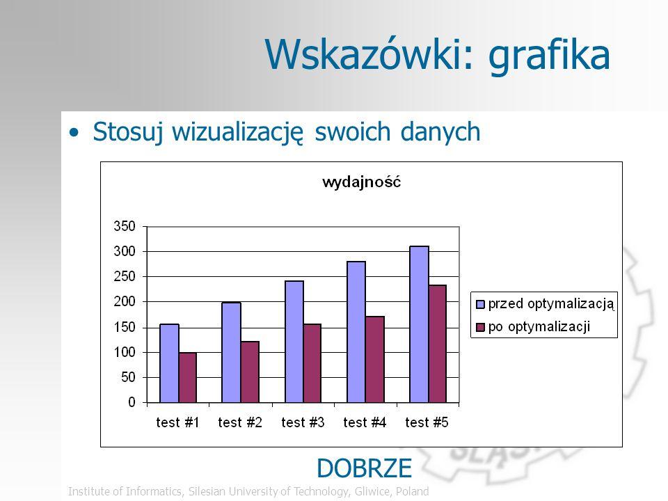 Institute of Informatics, Silesian University of Technology, Gliwice, Poland Wskazówki: grafika Stosuj wizualizację swoich danych ŹLE
