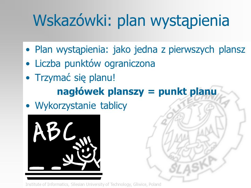 Institute of Informatics, Silesian University of Technology, Gliwice, Poland Grafika – zły przykład Jeden obraz wart jest tysiąca słów TREŚĆ ZROZUMIENIE obraz