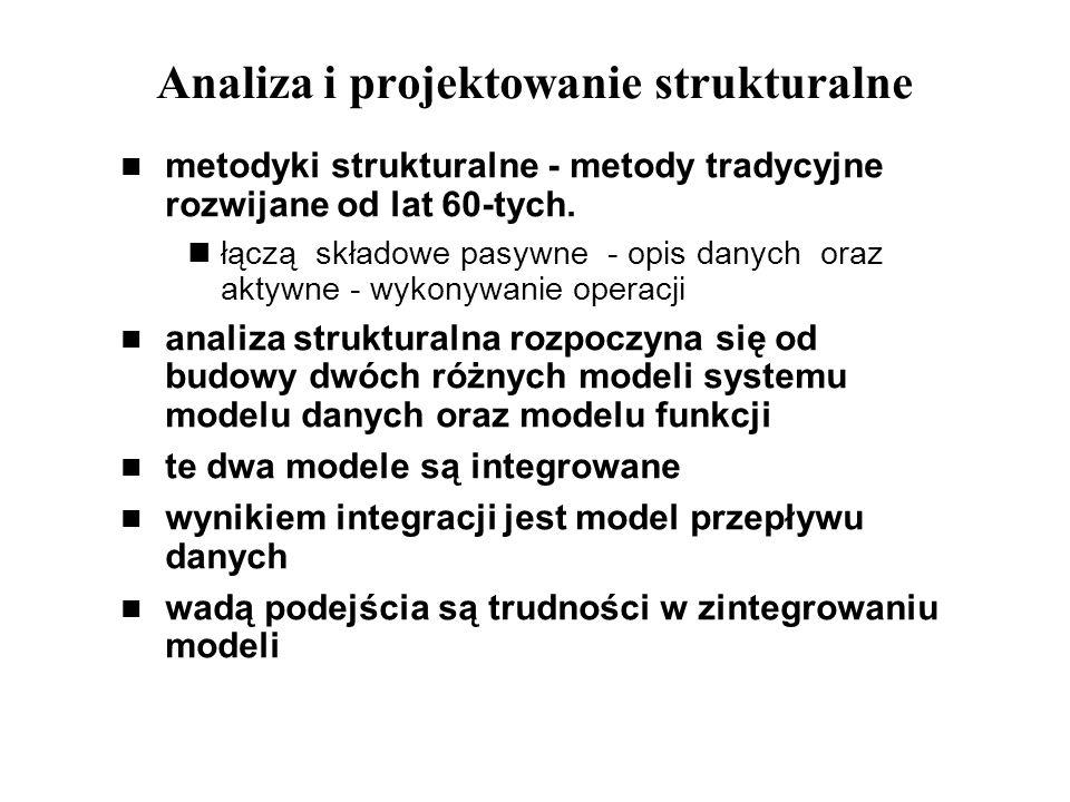Analiza i projektowanie strukturalne metodyki strukturalne - metody tradycyjne rozwijane od lat 60-tych. łączą składowe pasywne - opis danych oraz akt