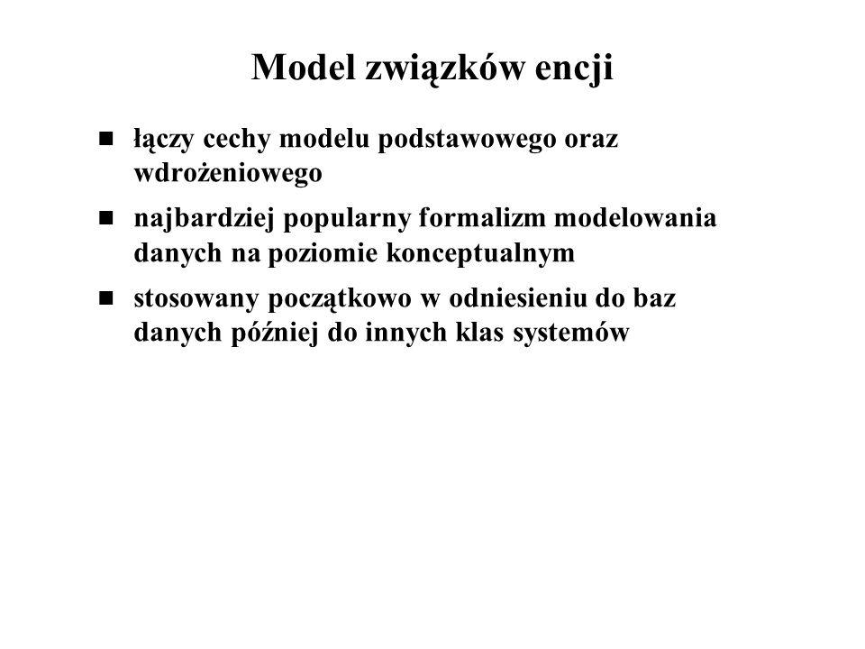 Model związków encji łączy cechy modelu podstawowego oraz wdrożeniowego najbardziej popularny formalizm modelowania danych na poziomie konceptualnym s