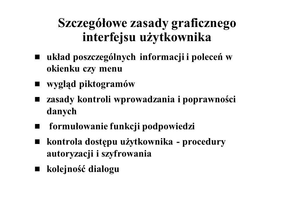 Szczegółowe zasady graficznego interfejsu użytkownika układ poszczególnych informacji i poleceń w okienku czy menu wygląd piktogramów zasady kontroli