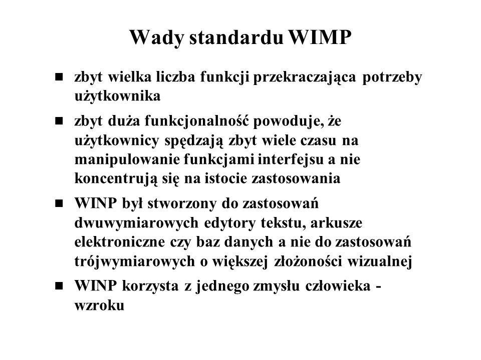 Wady standardu WIMP zbyt wielka liczba funkcji przekraczająca potrzeby użytkownika zbyt duża funkcjonalność powoduje, że użytkownicy spędzają zbyt wie