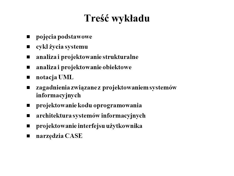 Cel wykładu zagadnienia związane z etapami analizy i projektowania przedstawienie różnych metod analizy i projektowania systemów informacyjnych projektowanie systemów informacyjnych z wykorzystaniem narzędzi CASE projekt systemu z wykorzystaniem narzędzi CASE