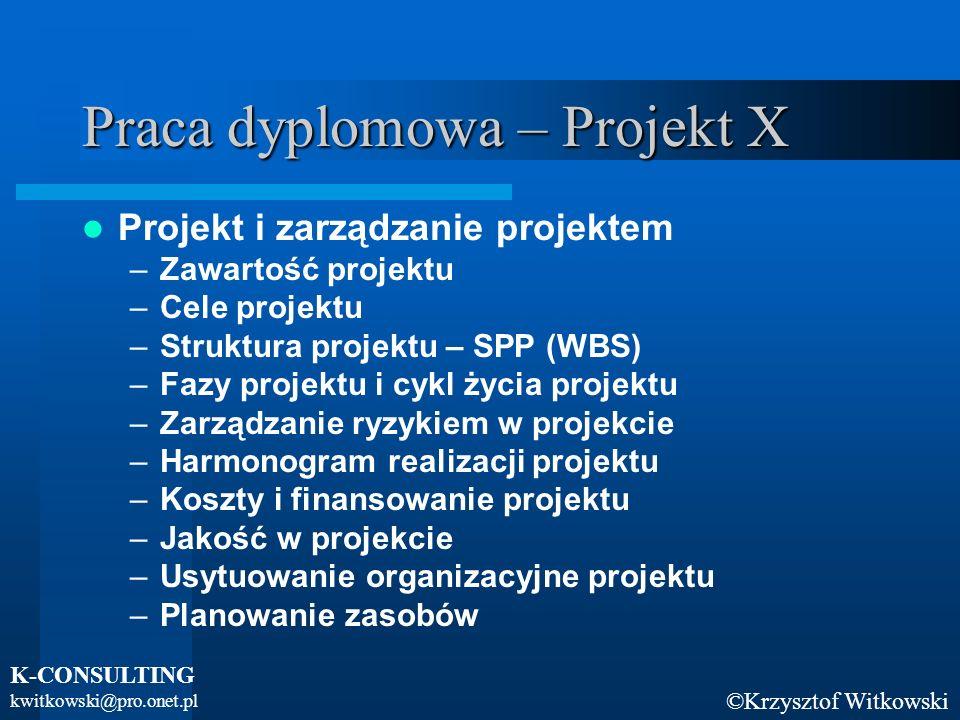 ©Krzysztof Witkowski K-CONSULTING kwitkowski@pro.onet.pl Praca dyplomowa – Projekt X Projekt i zarządzanie projektem –Zawartość projektu –Cele projekt