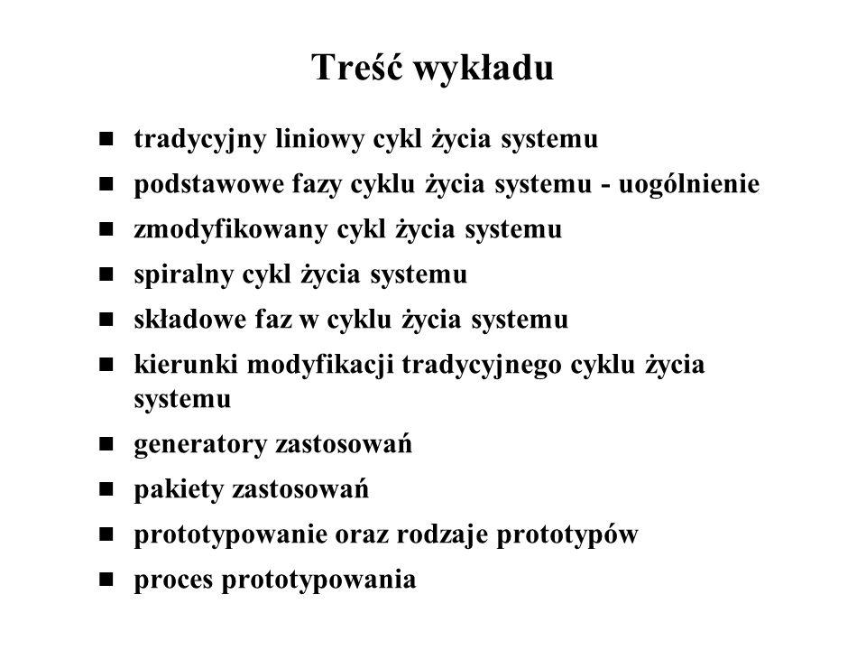 Treść wykładu tradycyjny liniowy cykl życia systemu podstawowe fazy cyklu życia systemu - uogólnienie zmodyfikowany cykl życia systemu spiralny cykl ż