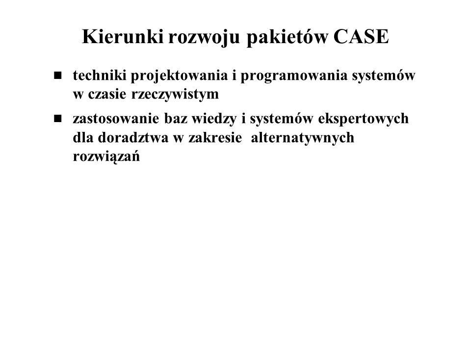 Kierunki rozwoju pakietów CASE techniki projektowania i programowania systemów w czasie rzeczywistym zastosowanie baz wiedzy i systemów ekspertowych d
