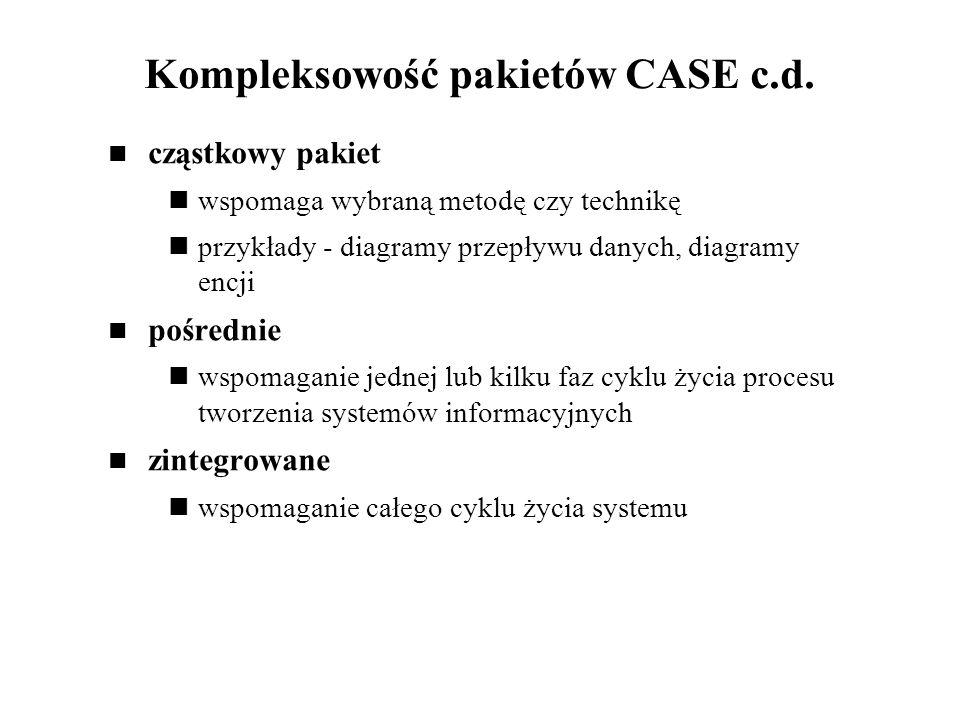 Kompleksowość pakietów CASE c.d. cząstkowy pakiet wspomaga wybraną metodę czy technikę przykłady - diagramy przepływu danych, diagramy encji pośrednie