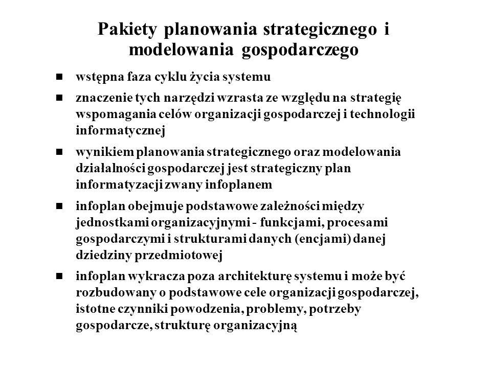 Pakiety planowania strategicznego i modelowania gospodarczego wstępna faza cyklu życia systemu znaczenie tych narzędzi wzrasta ze względu na strategię