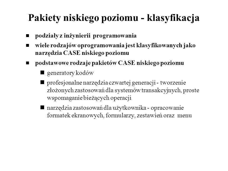 Pakiety niskiego poziomu - klasyfikacja podziały z inżynierii programowania wiele rodzajów oprogramowania jest klasyfikowanych jako narzędzia CASE nis